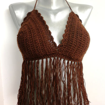 Summer Sexy Crochet Brown Bandeau Top Bra Fringe Tank Hippie Bohemian Party Ethno Summer Bikini Crochet Festival Top Yoga Gypsy Folk