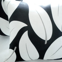 Black and white linen leaf pillow cover 16 x 16
