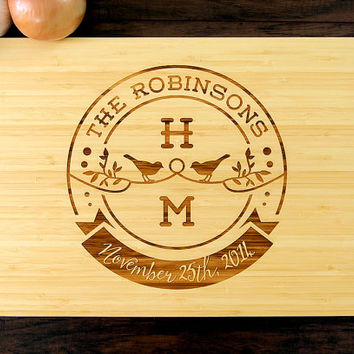 Personalized Wedding Gift, Custom Cutting Board, Anniversary Gift, Love Birds Badge, Housewarming Gift, Initials, Christmas Gift