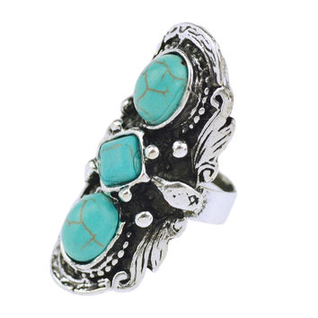 Cheap Fashion Jewelry Tibetan Silver Plated Unique Shaped Inlay Turquoise Bead Vintage Ring for Women Party