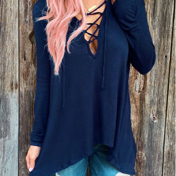 Fresh Style Lace-Up Hooded Solid Color Long Sleeve T-Shirt