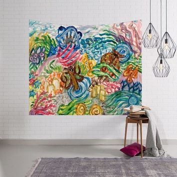 Abstract Painting Tapestries Graffiti Wall Hanging Hippie Picnic Home Decoration Jellyfish Bedspreads Mermaid Large Woven 2018