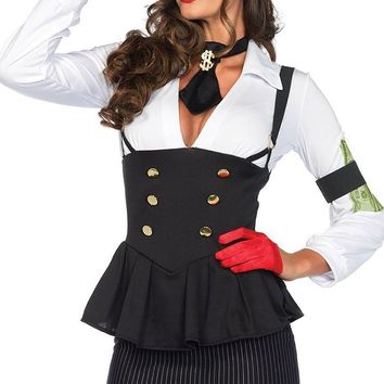 Gorgeous Gangsta Black White Pinstripe Pattern Long Sleeve Plunge V Neck Button Peplum Mini Dress Halloween Costume