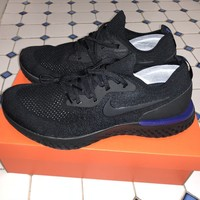 Nike Epic React Flyknit Triple Black Racer Blue AQ0067-004 Size 12 SOLD OUT