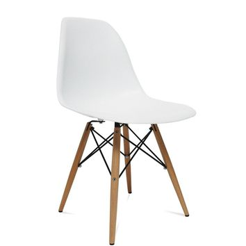 WoodLeg Dining Side Chair, White