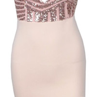 Karrah Geo Sequined Color Block Dress - Nude & Pink