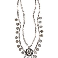Junior Women's BP. Coin Layered Pendant Necklace - Silver