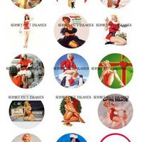 Bottle Cap Images - Christmas Holidays Vintage Pinups