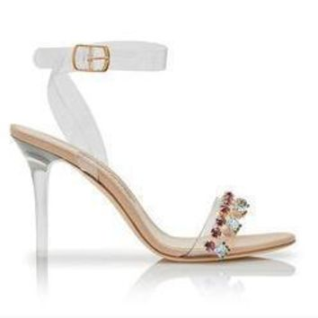 summer hot crystal sandals women diamonds clear high heels open toe perspex heeled lux