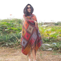 Womens Cape Vintage Tribal Pattern Lady Winter Warm Cloak Coat Knitwear