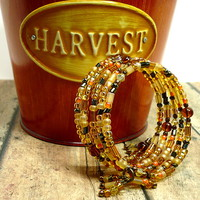 Autumn Gold Orange Yellow Brown Multi-Wrap One Size Handmade Bracelet