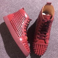 DCCK Cl Christian Louboutin Louis Spikes Style #1885 Sneakers Fashion Shoes