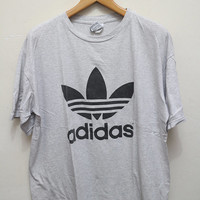Vintage ADIDAS Tee T Shirt Gray Color Size L
