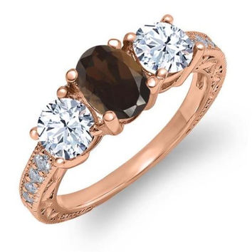 1.87 Ct Oval Brown Smoky Quartz White Topaz 18K Rose Gold Plated Silver Ring