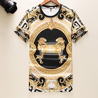 VERSACE Summer New Men Women Casual Print T-Shirt Top Blouse