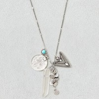 SILVER & COIN CHARM NECKLACE