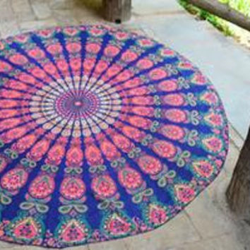 Large Shawl Chiffon  Beach Towels Bohemian Style Printed Round Beach Towel