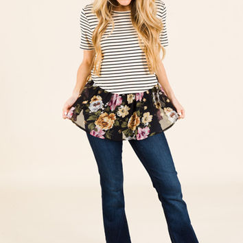 Floral Stripe Fix Top