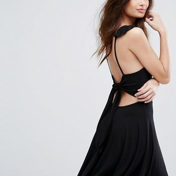 Boohoo Tie Back Skater Dress at asos.com