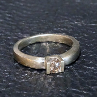 Champagne Diamond Engagement Ring Rare Fancy Color Solitaire Vintage 14K White Gold