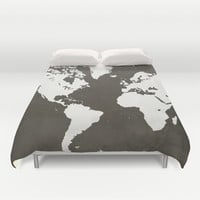 MAP! (in grey) Duvet Cover by Leah Thibodeau