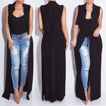 2016 new fashion sleeveless trench coat balck chiffon duster for women woman overcoat outwear causal robe long can be dress sexy