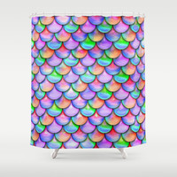colorful mermaid tail Shower Curtain by Haroulita
