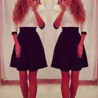 White and Black Color Block Half Sleeve Midi Dress