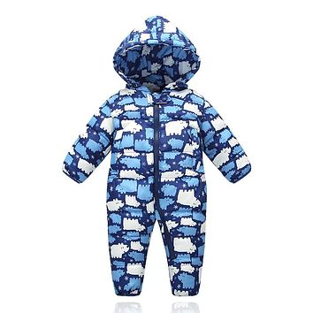 2016 New 9m-18m baby girls boys Winter romper ski suit jumpsuit thickening down feather romper infant baby winter warm clothes