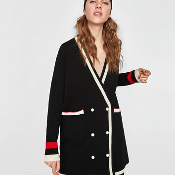 DOUBLE-BREASTED JACKET WITH PEARL BUTTONS