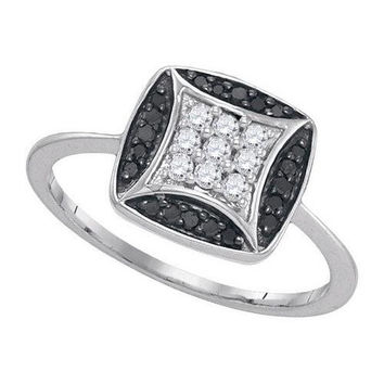 10K White-gold 0.25CTW BLACK DIAMOND MICRO-PAVE RING