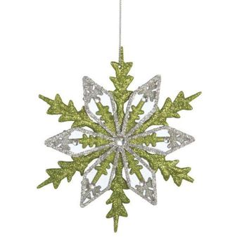 MDIGMS9 6' Good Tidings Silver and Green Glitter Drenched Snowflake Christmas Ornament