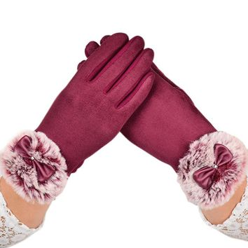 FEITONG Women's Winter Rabbit Fur Gloves Women Velvet Warm Glove Soft Wrist Thick Mitten Driving Full Finger Tactical Gloves#3