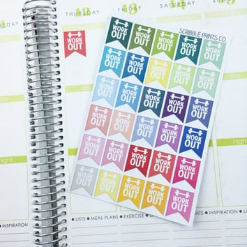 "30 ""Workout!"" Page Flag Die-Cut Stickers // (Perfect for Erin Condren Life Planners)"