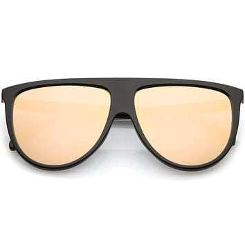 Retro Space Trance Flat Top Mirrored Flat Lens Sunglasses C394