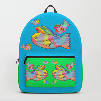 Rainbow fish by Elisavet | colorful #society6 Backpack by Azima