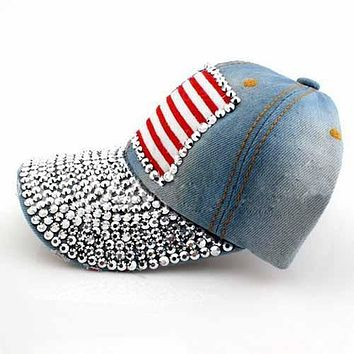 SYB 2016 NEW Light Blue Vintage American Flag Pattern Rhinestoned Denim Jeans Baseball Cap Sun Hat For Women