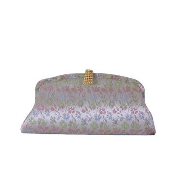 Vintage Clutch Evening Handbag Floral Gold Pink Green and Blue Print with Metallic Gold Thread Foldable Chain Handle - New Old Stock