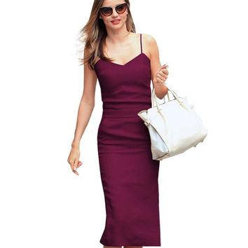 Nice-forever New Summer Stylish Lady V Neck Sexy Mid-Calf length Pocket sleeveless Casual Office Straight Pencil Slip Dress B304