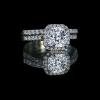 1.50 Ct Center Halo Settings Engagement Set 635r71926