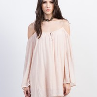 Peachy Cold Shoulder Dress