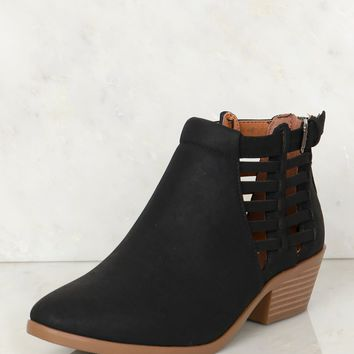 Strapped Ankle Booties Black