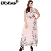 Clobee 2017 Plus Size 6XL Summer Dress Print Chiffon Women Long Dress Big Size Maxi Dresses Vestidos Sexy Beach Party Dresses
