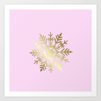 Golden Snowflake Art Print by Lena Photo Art