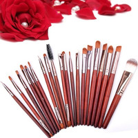 20Pcs Cosmetic Powder Foundation Eyeshadow Eyeliner Lip Makeup Brown Brushes Set 7_S