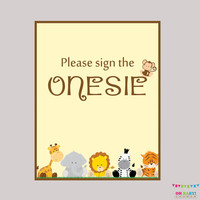 """Safari Baby Shower """"Sign the Onesuit"""" Sign - Printable Download - Baby Shower """"Please Sign the Onesuit"""" Sign, Sign the Guestbook - BS0001-N"""