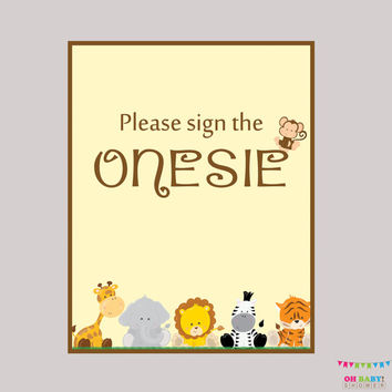 "Safari Baby Shower ""Sign the Onesuit"" Sign - Printable Download - Baby Shower ""Please Sign the Onesuit"" Sign, Sign the Guestbook - BS0001-N"
