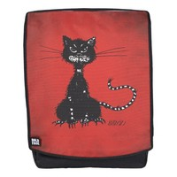Customizable Red Ragged Evil Black Cat Backpack