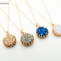 ROSE GOLD Druzy Necklace Rose Gold Necklace Dainty Necklace Delicate necklace Sparkly necklace silver Blue Rose Gold White Druzy