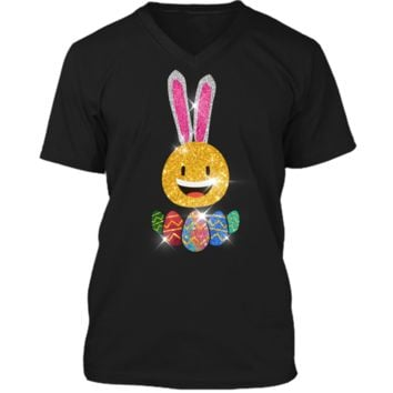 Easter Bunny Emoji T-shirt. Cute Easter Graphic Family Gifts Mens Printed V-Neck T